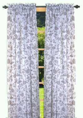 Sheer Tailored Panel - Floral Stencil