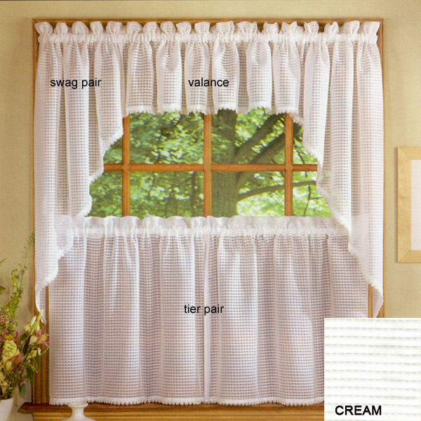 amazon treatment taupe curtains tier dp weave window drapes com waterproof kitchen waffle inch