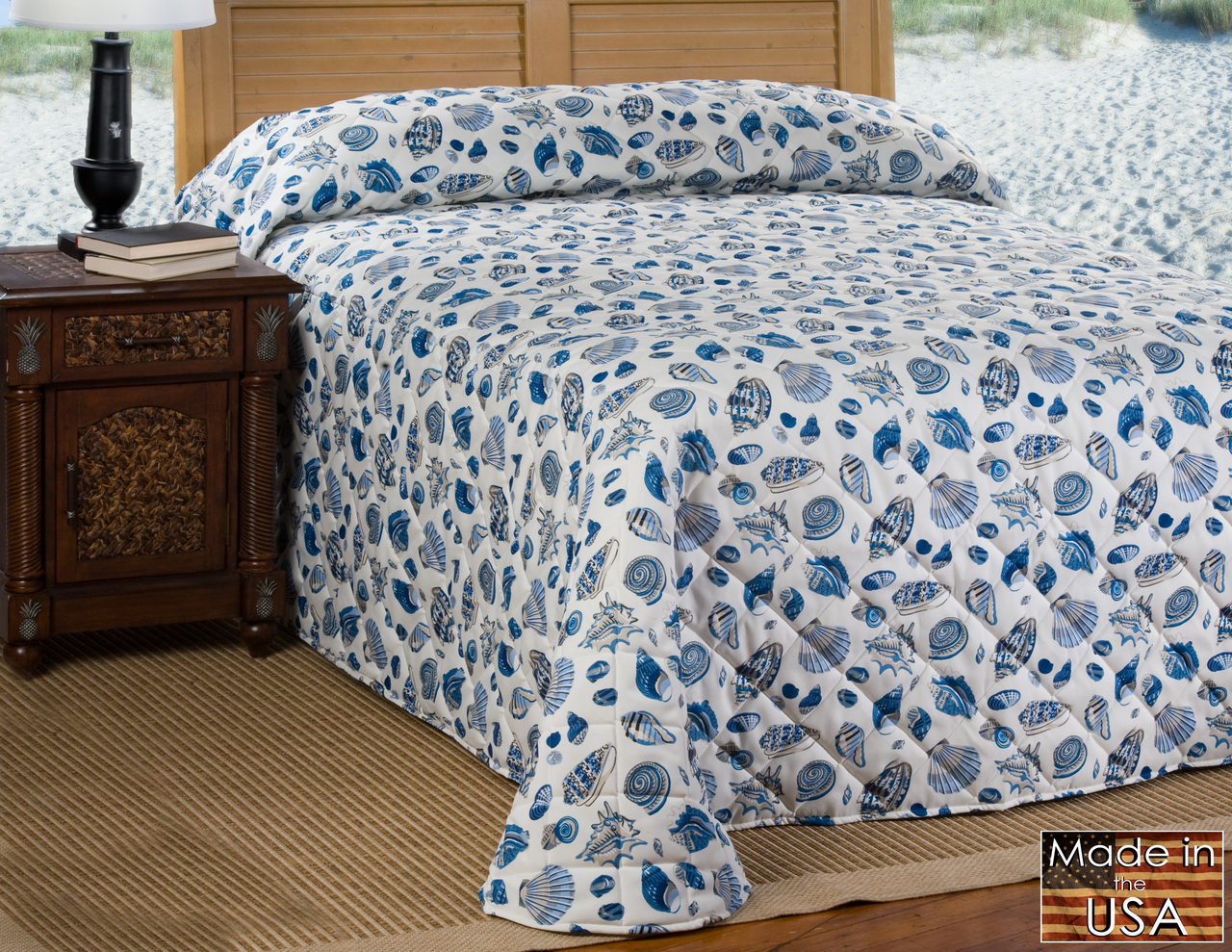 Sofie S Cottage Victor Mill Blue Shell Bedspread