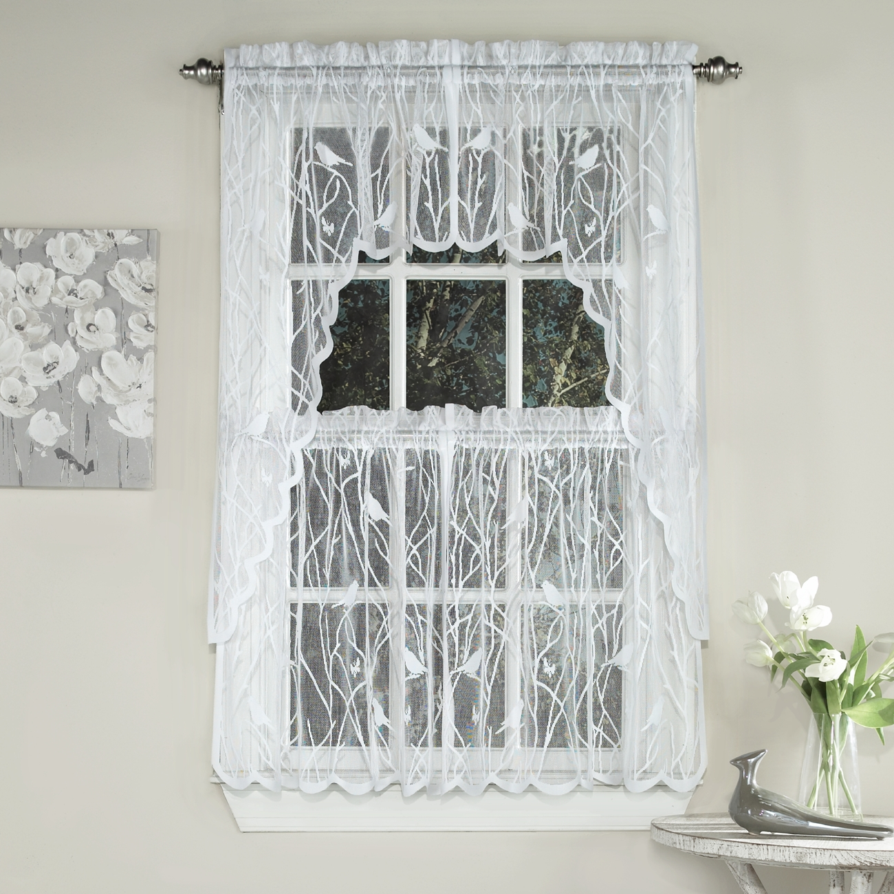Ordinaire Songbird Sheer Kitchen Curtains