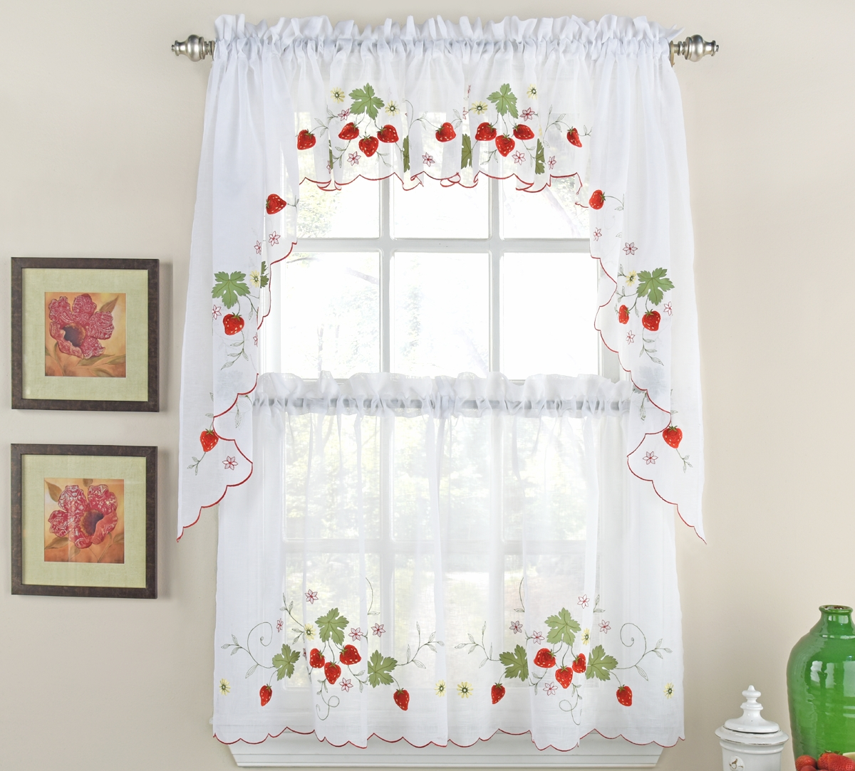 Strawberries Kitchen Curtain Set