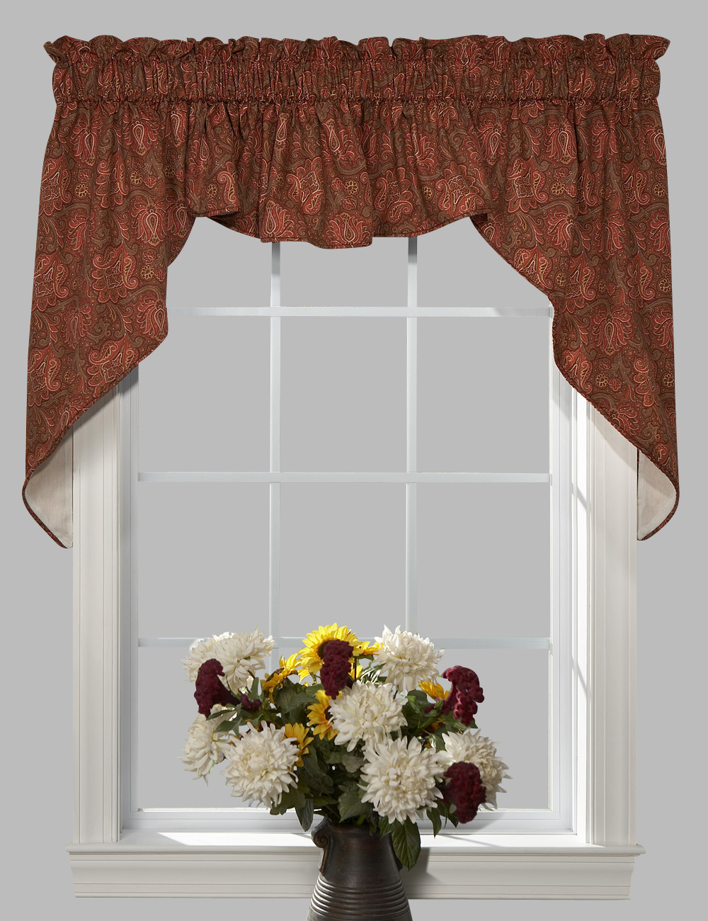 Beacon swag window valance 3 pc paisley lined - Boutique free valence ...