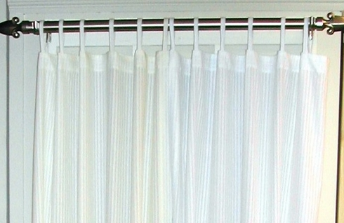 "63"" L Tab Top Semi Sheer Window Panel - Shadow Stripe Natural - SOLD OUT - CLEARANCE"