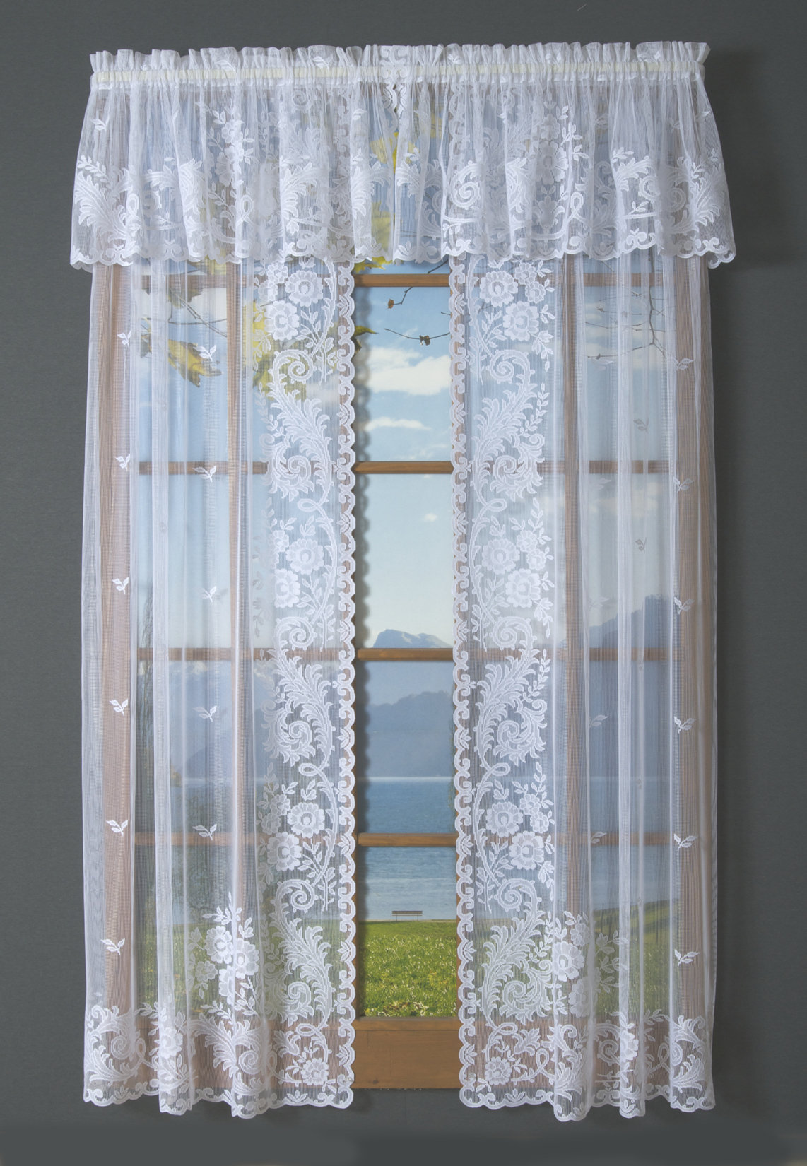 Irish Point Lace Tailored Curtain Pair