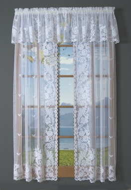 Irish Point Lace Tailored Curtain (pair) - CLEARANCE