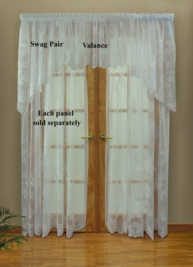 "84""L  Leanne Lace Rod Pocket Curtain Panel - White  - Clearance"