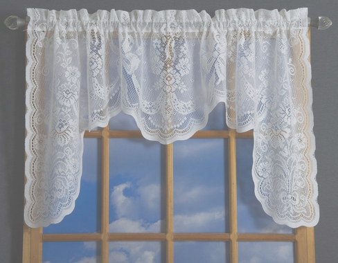 American Balmore Lace Tailored Swag - Beige - Country Curtains