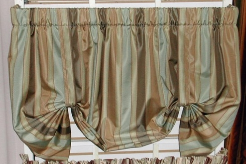 Tie Up Valance - Calloway Stripe Cinnamon