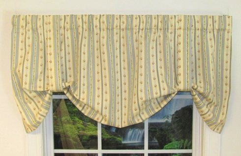 Tie Up Valance - Suzanne Stripe Blue - sold out