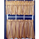 Tier Curtain Pair - Suzanne Stripe-  Brick,  - CLEARANCE