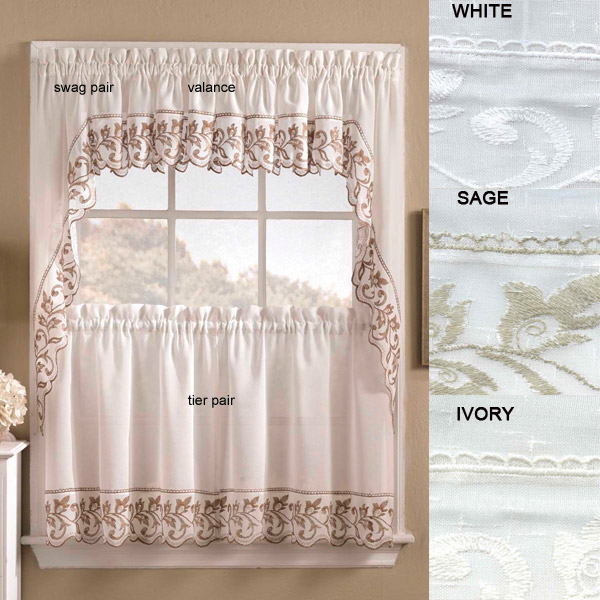 Rosemary Linen Kitchen Curtain Swag: Brittany Tier Curtains