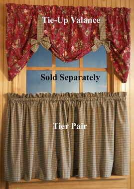 Climbing Roses - Tier Curtains in Plaid