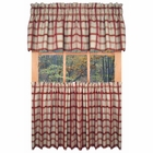 "24"" Long Tier Curtains - Logan Plaid  Red - CLEARANCE"