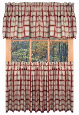 """24"""" Long Tier Curtains - Logan Plaid  Red - SOLD OUT"""