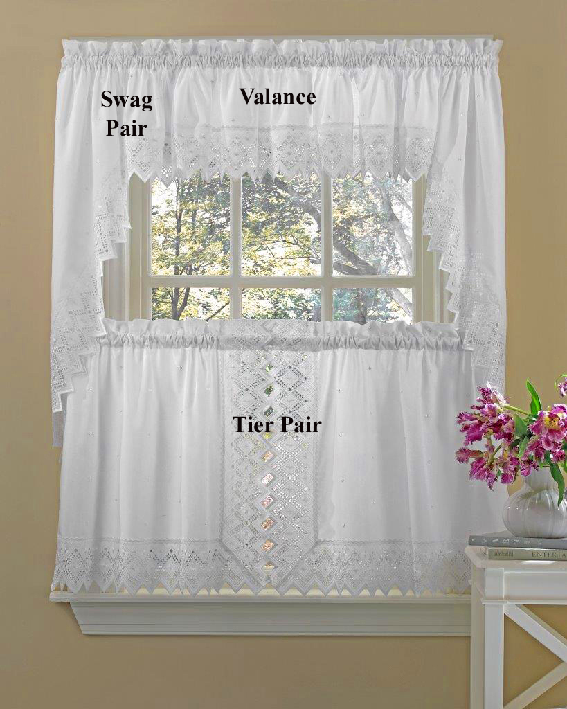 Nouveau Embroidered Tier Curtains