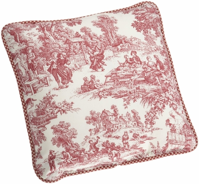 Victoria Park Toile Toss Pillow