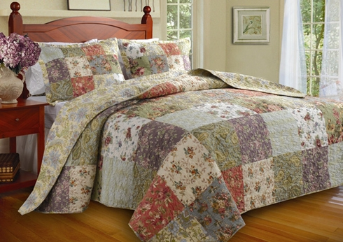 Twin Bedspread 2 pc. Set - Blooming Prairie - Greenland Home Fashions