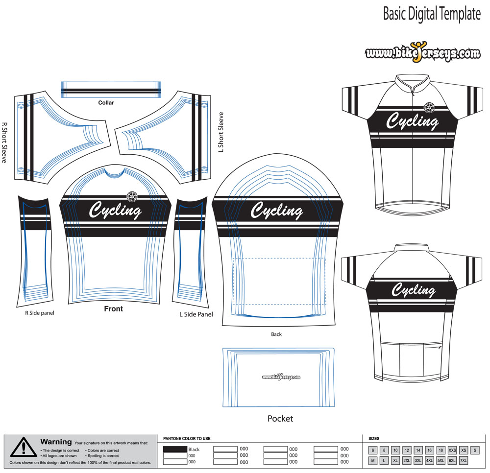 Retro template for Custom cycling jersey template
