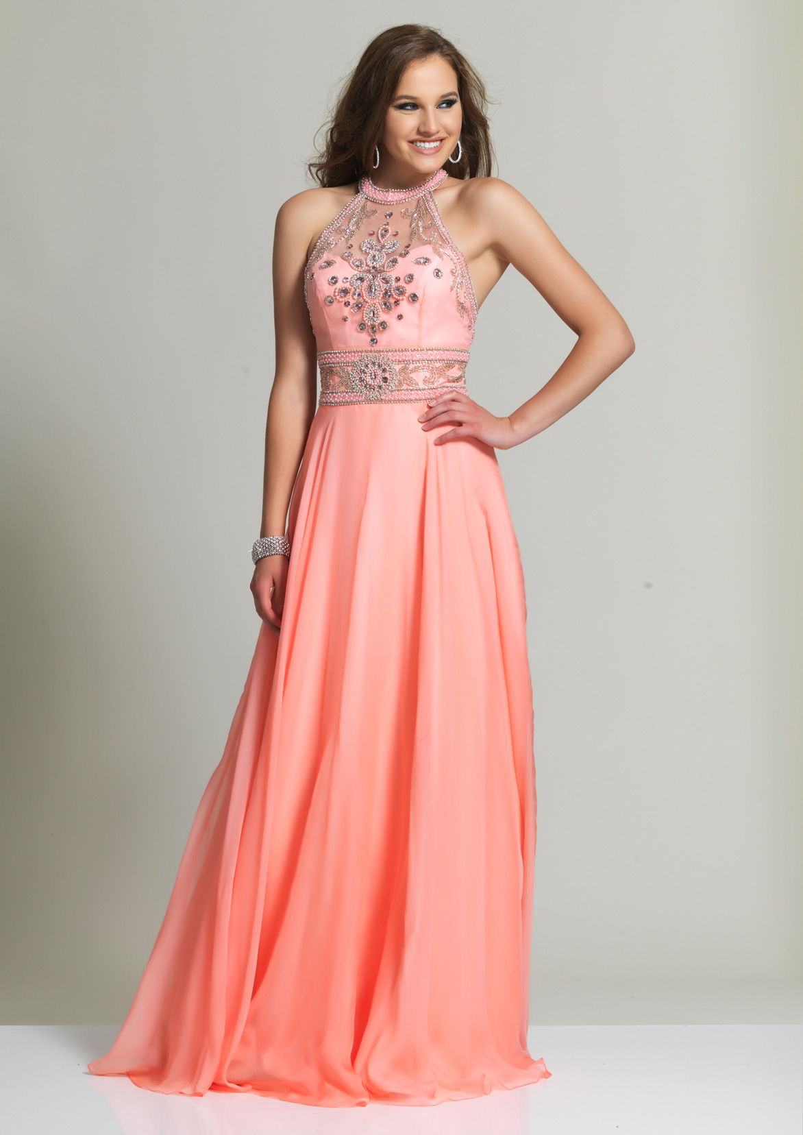Orange Prom Dresses by Dave and Johnny