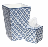 Bathroom Decor Trash Can Blue Ikat