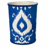 Bathroom Trash Cans Blue Ikat