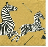 Beverage Napkins Gold Zebra