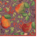 Beverage Napkins Purple Pears