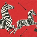 Beverage Napkins Red Zebra