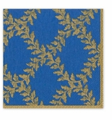Christmas Cocktail Napkins Crown Blue