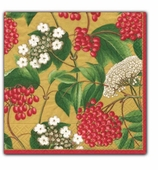Christmas Cocktail Napkins Gold Berry