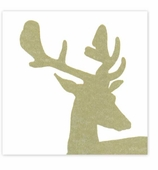 Christmas Dinner Napkins Stag Gold