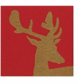 Christmas Dinner Napkins Stag Red