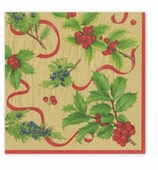 Christmas Dinner Napkins Trim Gold