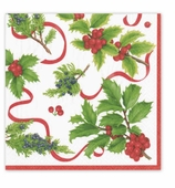 Christmas Dinner Napkins Trim Ivory