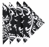 Cloth Napkins Black Damask