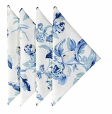 Cloth Napkins Blue Floral