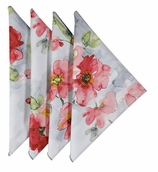 Cloth Napkins Red Floral