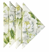 Cloth Napkins White Floral