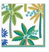 Cocktail Napkins Palms White