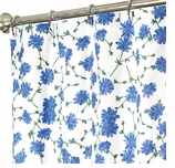 Extra Long Shower Curtains Blue Floral 84""