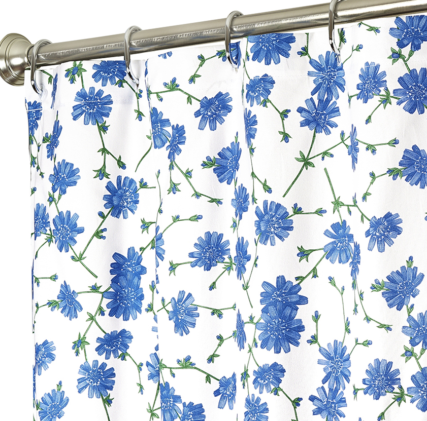Extra Long Shower Curtains Blue Floral 84