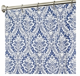 Extra Long Shower Curtains Damask Blue