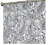 Extra Long Shower Curtains Paisley Blue