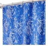 Extra Long Shower Curtains XXL Blue Print