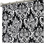 Extra Long Shower Curtains XXL Damask Black