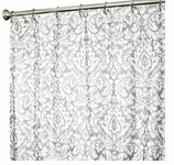 Extra Long Shower Curtains XXL Damask Silver