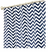 Extra Long Shower Curtains XXL Zig Zag Blue