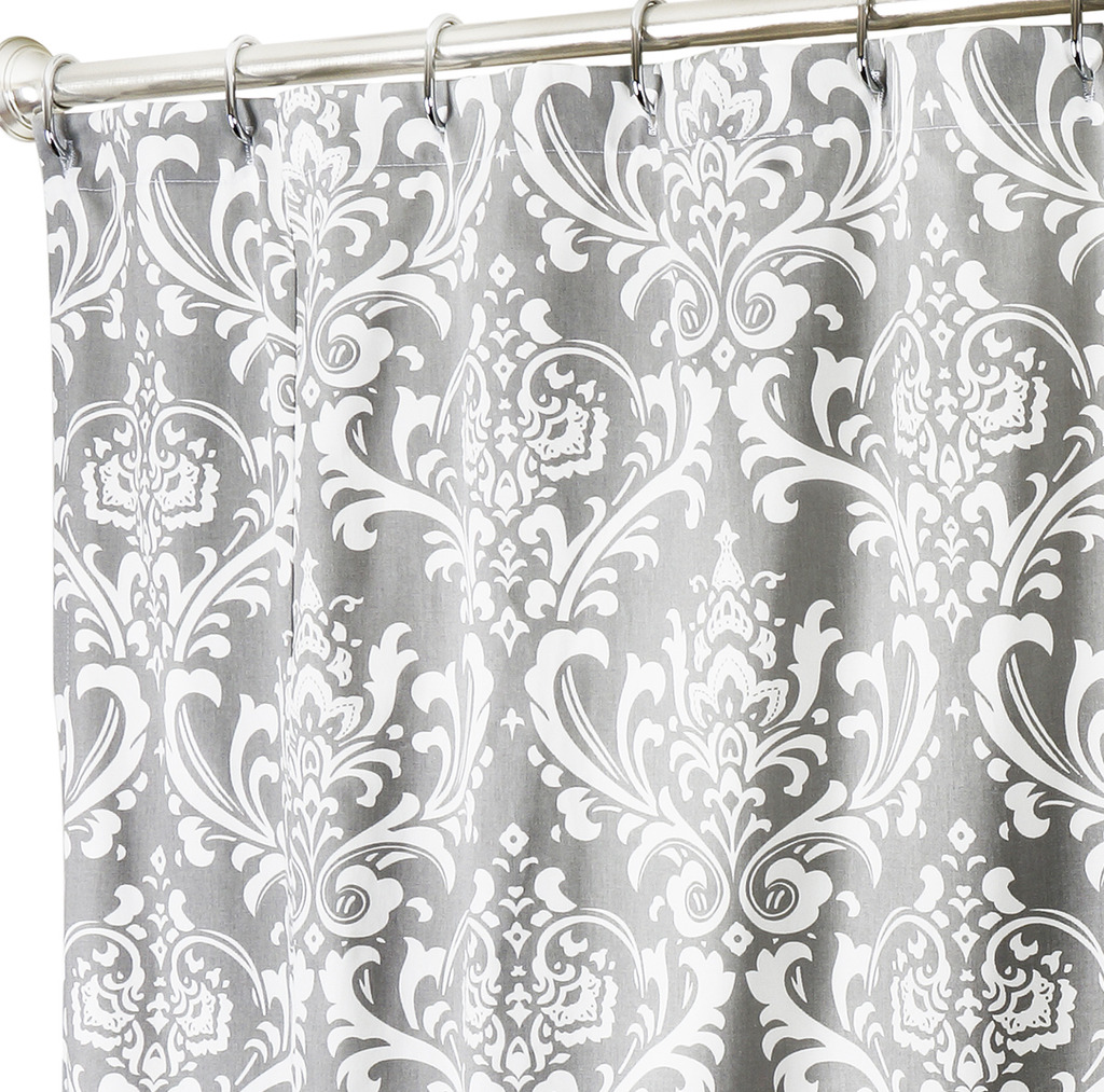 Extra Long Shower Curtains XXL Damask Gray Click To Enlarge
