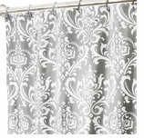 Extra Long Shower Damask Gray