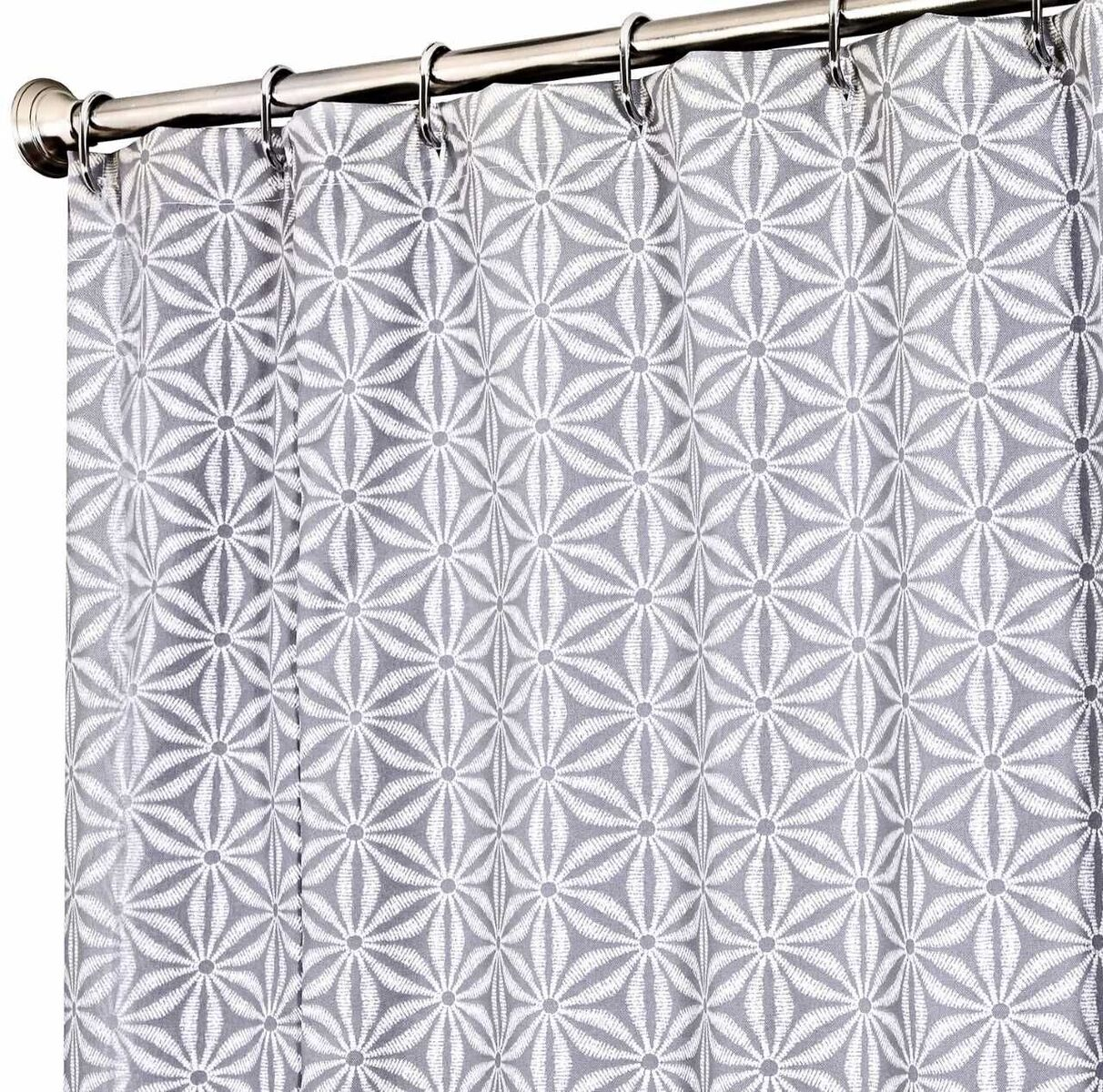Fabric shower curtain gray star click to enlarge fabric for Star material for curtains